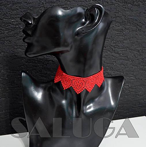 CHOKER - náhrdelník - červený - srdce