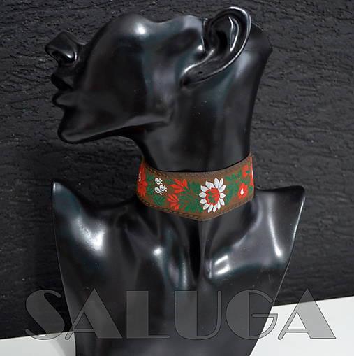 CHOKER náhrdelník - folk - folklórny - tmavo hnedý