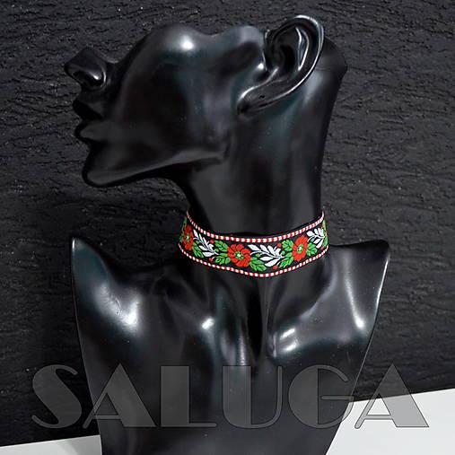 CHOKER náhrdelník - folk - folklórny - čierny