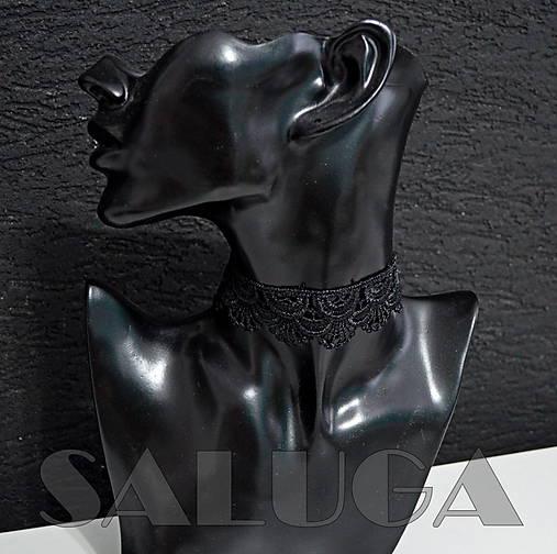 CHOKER náhrdelník - čipkovaný - čierny - krajka