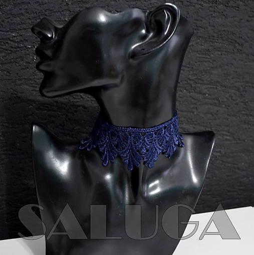 CHOKER náhrdelník - tmavomodrý - čipkovaný - folk