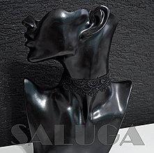 Náhrdelníky - CHOKER náhrdelník - čipkovaný - čierny - krajka - 10034006_