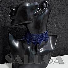 Náhrdelníky - CHOKER náhrdelník - tmavomodrý - čipkovaný - folk - 10034021_
