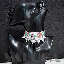 Náhrdelníky - CHOKER - náhrdelník - folklórny - srdcia - biely - 10034024_