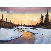 Obrazy - Obraz - zimná krajina počas západu slnka - 10033387_