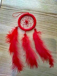 Dekorácie - Malý cerveny lapač snov - 10033394_