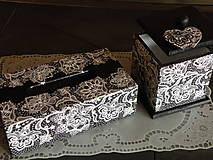 Krabičky - Souprava krajková černobílá - 10034925_