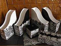 Krabičky - Souprava krajková černobílá - 10034934_