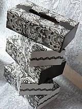 Krabičky - Souprava krajková černobílá - 10034935_