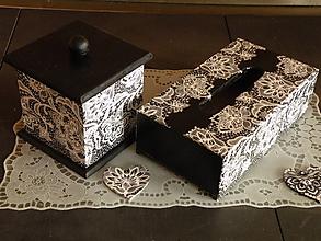 Krabičky - Souprava krajková černobílá - 10034928_