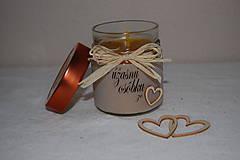 Svietidlá a sviečky - Sviečka z včelieho vosku v sklenenom pohári (s vlastným textom) - 10035562_