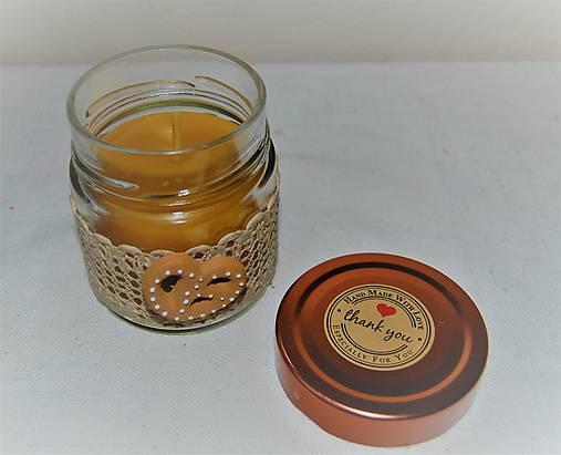 Sviečka z včelieho vosku v sklenenom pohári (s praclíkom)