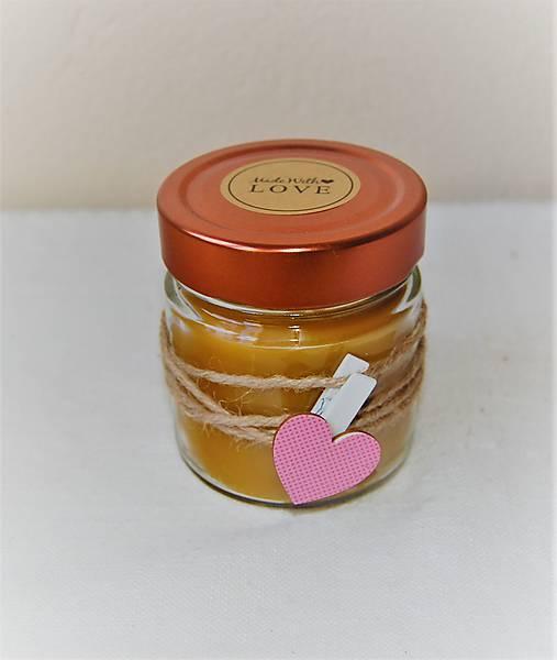 Sviečka z včelieho vosku v sklenenom pohári (so štipcom)