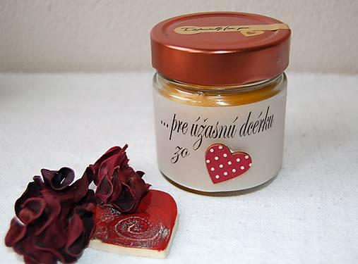 Sviečka z včelieho vosku v sklenenom pohári (s vlastným textom)