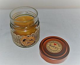 Svietidlá a sviečky - Sviečka z včelieho vosku v sklenenom pohári (s praclíkom) - 10035515_
