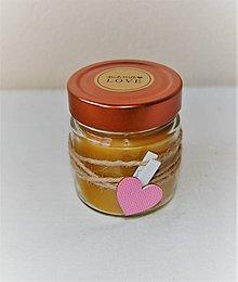 Svietidlá a sviečky - Sviečka z včelieho vosku v sklenenom pohári (so štipcom) - 10035528_
