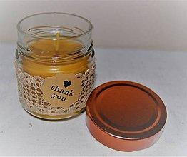Svietidlá a sviečky - Sviečka z včelieho vosku v sklenenom pohári (Ďakujem) - 10035552_