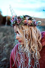 Ozdoby do vlasov - Kvetinový venček Jednorožec Halloween - 10032745_