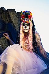 Ozdoby do vlasov - Kvetinová čelenka Santa Muerte Halloween - 10032751_
