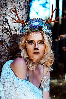 Ozdoby do vlasov - Kvetinová čelenka s parožkami Halloween - 10032739_