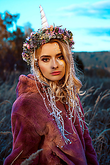 Ozdoby do vlasov - Kvetinový venček Jednorožec Halloween - 10032746_