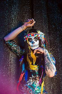 Ozdoby do vlasov - Pestrofarebná čelenka Santa Muerte Halloween - 10032755_