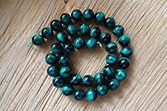 Minerály - Tigrie oko farbené / 1ks - 10mm (Zelená) - 10034994_