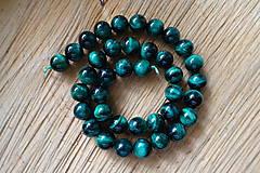 Minerály - Tigrie oko farbené / 1ks - 10mm (Zelená) - 10034995_