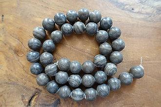 Minerály - Jaspis obrázkový červeno/čierno -šedý 10mm (Šedá) - 10035683_