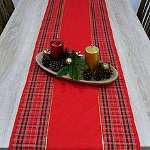 Úžitkový textil - Tradičné vianočné káro s červenou - vianočný stredový obrus - 10035542_