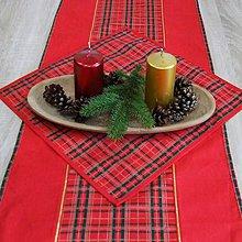 Úžitkový textil - Tradičné vianočné káro s červenou - štvorcový obrúsok 40x40 - 10035565_