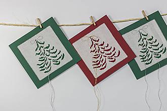 Papiernictvo - Vianočná pohľadnica II - vyšívaný pozdrav (Vínovo-červená so zlatou niťou) - 10033309_