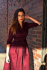 Šaty - Zavinovací šaty MONA, bordó - 10039796_