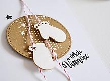 Papiernictvo - Vianočný pozdrav - rukavičky na špagátiku - 10039145_