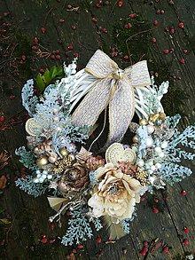 Dekorácie - ZĽAVA  Champagne vianočný veniec - 10037003_