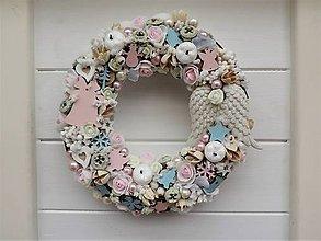 Dekorácie - Shabby chic vianočný veniec - 10037526_