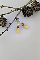 Náušnice - tigrie oko a citrínový jadeit náušnice v striebre - 10036558_