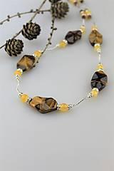 Náhrdelníky - citrínový jadeit a tigrie oko náhrdelník luxusný dlhý - 10036984_