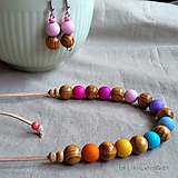 Sady šperkov - Drevené korálky - sada . Rainbow - 10037912_