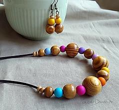 Náhrdelníky - Drevené korálky . Pastels - 10035995_