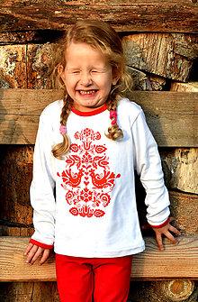 Detské oblečenie - Detské tričko s ľudovým motívom Jablonické vtáča FOLK dlhý rukáv - 10038279_