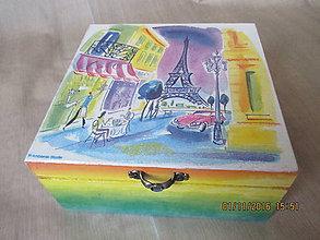 Krabičky - Krabička PARÍŽ vo farbách dúhy - 10036374_