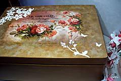 Krabičky - drevený maxi box  (Ruže) - 10038170_