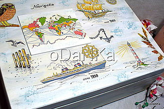 Krabičky - drevený maxi box  (Námornícky) - 10038160_