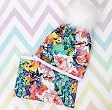 Detské čiapky - Pestrofarebný set s brmbolcom - 10038446_