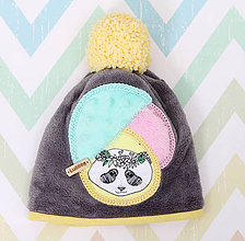 Detské čiapky - Čiapka s pandou - 10038543_