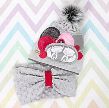 Detské čiapky - Hrejivý set s líškami - 10038604_