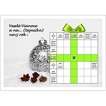 Grafika - Vianočná krížovková pohľadnica - darček so zelenou stuhou - 10039810_