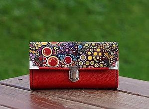 Peňaženky - Peněženka červené bubliny 19x10cm, 18 karet, na fotky - 10038112_
