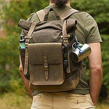 Batohy - Olivový batoh s odopínateľnou kabelkou. Ruksak z voskovaného plátna a kože. - 10037702_